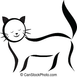 логотип, силуэт, кот