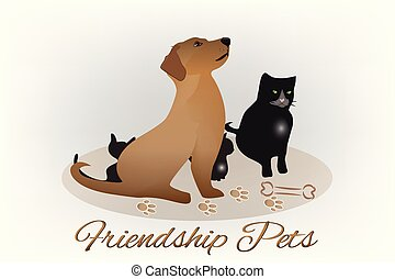 логотип, силуэт, собака, кот