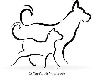 логотип, собака, кот