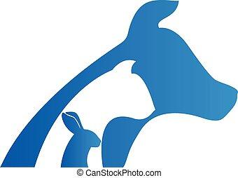 логотип, собака, кролик, кот