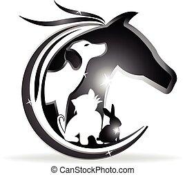 логотип, собака, лошадь, кролик, кот