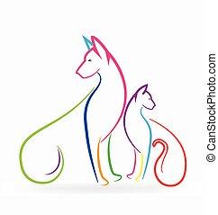 логотип, pets, собака, красочный, кот