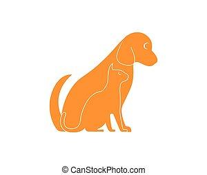 логотип, silhouettes, вектор, собака, кот