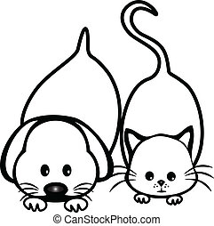 логотип, silhouettes, дизайн, собака, кот