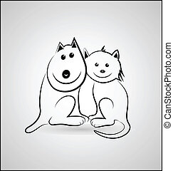 логотип, silhouettes, собака, кот