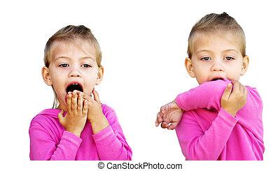 локоть, coughing, ребенок
