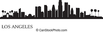 лос, анджелес, город, линия горизонта, силуэт, задний план