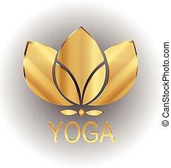 лотос, золото, цветок, значок, вектор, логотип, дизайн