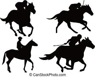 лошадь, гоночный, игра