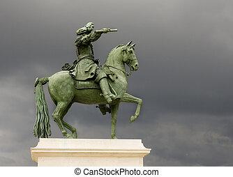лошадь, and, человек, статуя