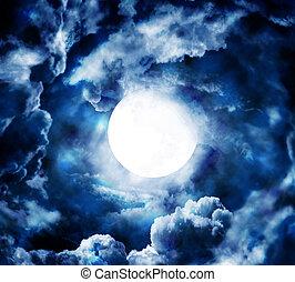 луна, в, синий, небо