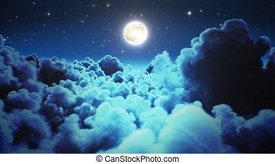 луна, sky., над, clouds, ультра, полночь, легкий, 3d, cloudscape, мерцающий, ночной полет, looped, летающий, 3840x2160., 4k, через, seamless., timelapse, hd, анимация, число звезд: