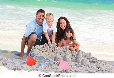 лучистый, пляж, семья