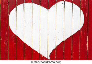 люблю, деревянный, символ, стена, старый, рисование