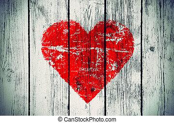 люблю, символ, на, старый, деревянный, стена
