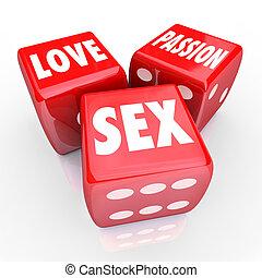 люблю, страсть, секс, три, красный, игральная кость, авантюра, dating