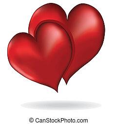 люблю, valentine's, символ, элемент, вектор, дизайн, hearts, день