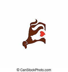 любовник, собака, кот, логотип