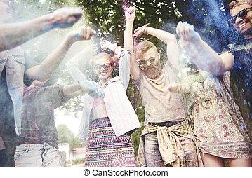 люди, бросание, , holi, colors, в, , фестиваль