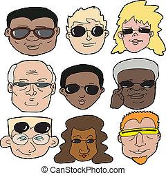 люди, в, солнечные очки