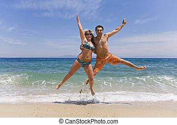 люди, молодой, прыгать, морской берег