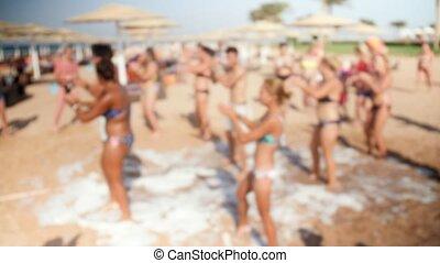 люди, молодой, размытый, видео, 4k, весело, вечеринка, дискотека, пляж, having, счастливый