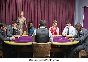 люди, сидящий, в, , казино, таблица, with, женщина, постоянный
