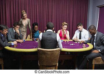 люди, сидящий, в, , покер, таблица, playing