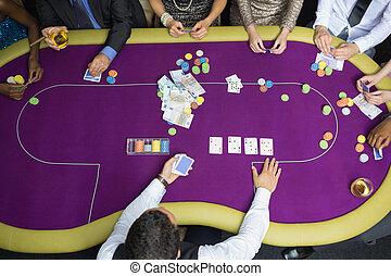 люди, сидящий, в, таблица, playing, покер