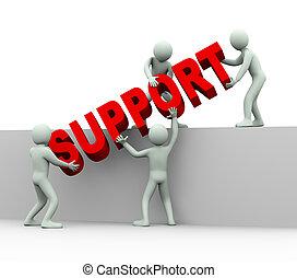 люди, -, 3d, помогите, поддержка, концепция