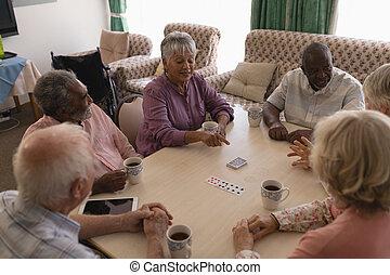 люди, cards, playing, комната, живой, группа, старшая