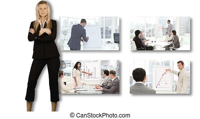 люди, presenting, в, бизнес