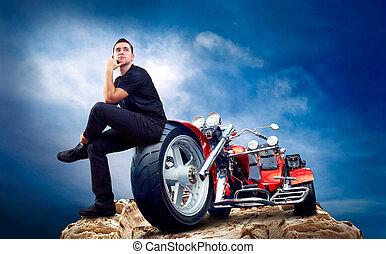 люди, with, мотоцикл, на, , вверх, of, mountains.