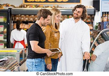 магазин, assisting, работник, пара, butcher's