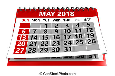 май, календарь, 2018