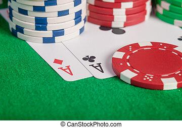макрос, пара, aces, and, покер, чипсы, стек, на, таблица