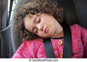 маленький, автомобиль, девушка, сиденье, спать