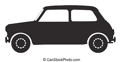 маленький, автомобиль, силуэт
