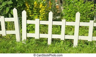 маленький, декоративный, сад, забор