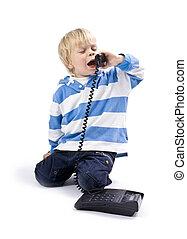 маленький, мальчик, на, , телефон