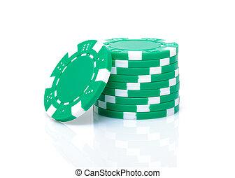 маленький, стек, of, зеленый, покер, чипсы