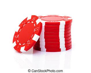 маленький, стек, of, красный, покер, чипсы