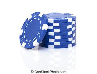 маленький, стек, of, синий, покер, чипсы