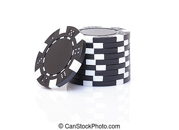 маленький, стек, of, черный, покер, чипсы