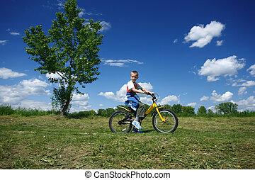 мальчик, велосипед, driving