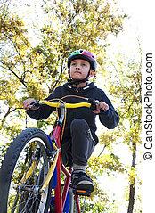 мальчик, верховая езда, байк, в, , парк