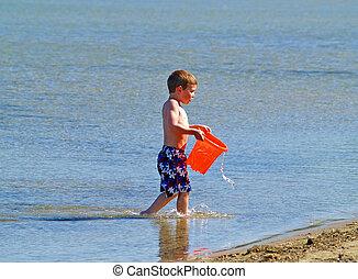 мальчик, в, пляж