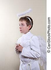 мальчик, заправленный, в виде, an, ангел, держа, , свеча