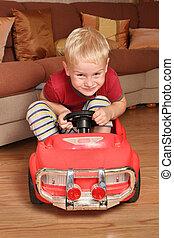 мальчик, игрушка, автомобиль