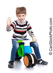 мальчик, на, велосипед